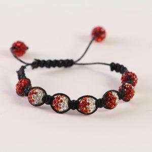 Red-White Shamballa Bracelet