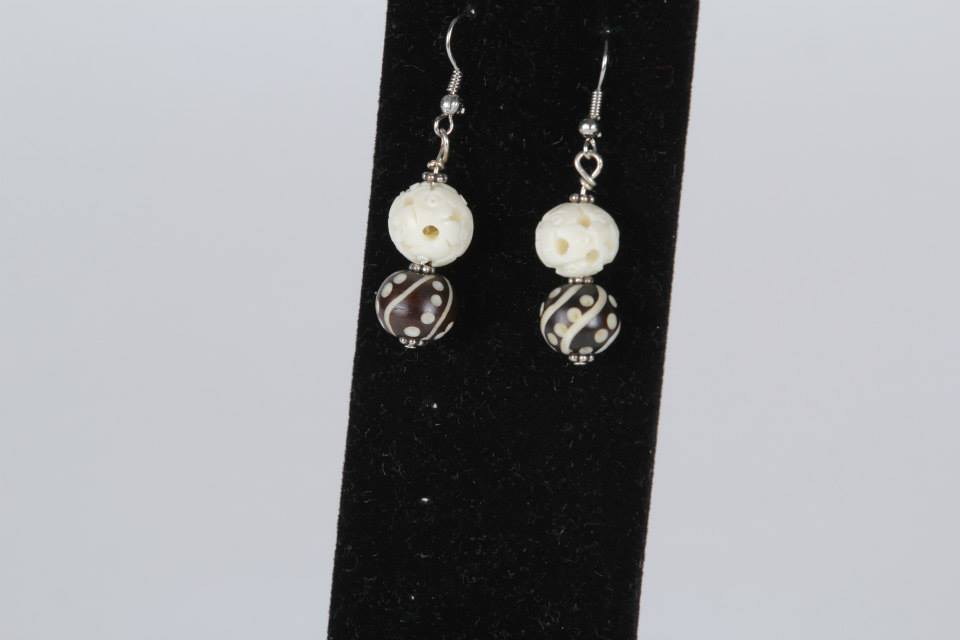White and Black Wood Earrings